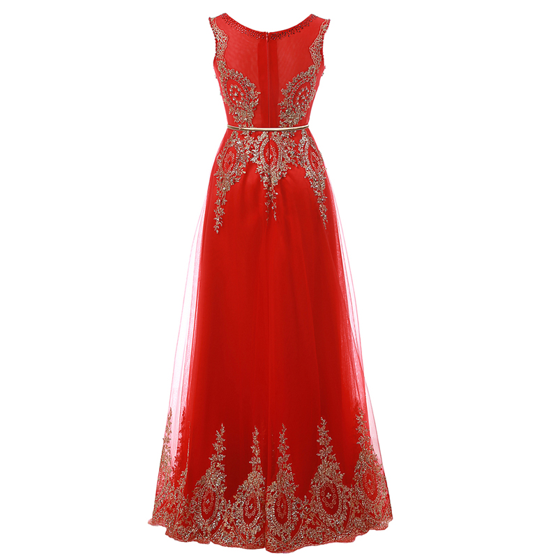 Champagne Long Elegant Appliques Beading Party Prom Dresses 3