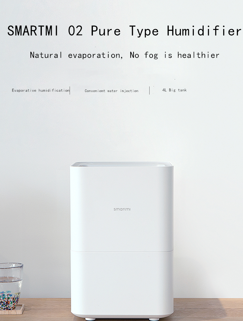 XiaoMi SMARTMI Pure type Humidifier App Control Smog-free Mist-free Pure  Evaporate Durable operation, convenient cleaning