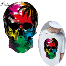 Pulaqi Cool Skull Iron On Heat Transfer For Clothes Summer Vinyl  Washable Badge Stickers Patches Parches