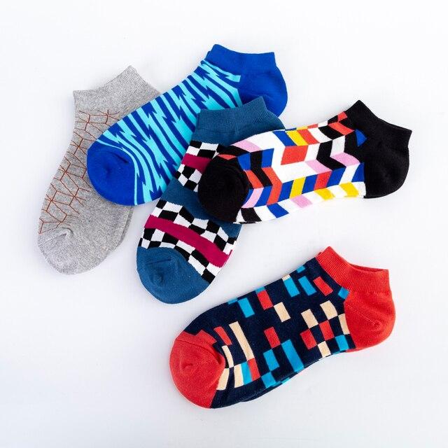 Jhouson Men's Casual Novelty Colorful Summer Ankle Socks Happy Combed Cotton Short Socks Plaid Geometric Pattern Dress Boat Sock 4