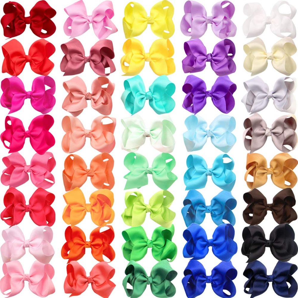 40 Colors 4.5 Inch Kid Girls Large Ribbon Hair Bows Clips Accessories For Toddlers Kids Girls Hair Accessories