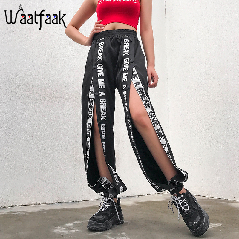 Waataak Streetwear Loose Letter Print Harem Pants Women Summer 2019 Button Hollow Out High Waist Elastic Harajuku Black Trousers