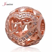 Rose Gold Love Charm 925 Sterling Silver Clear Stone Bead DIY Jewelry Making For Woman Style
