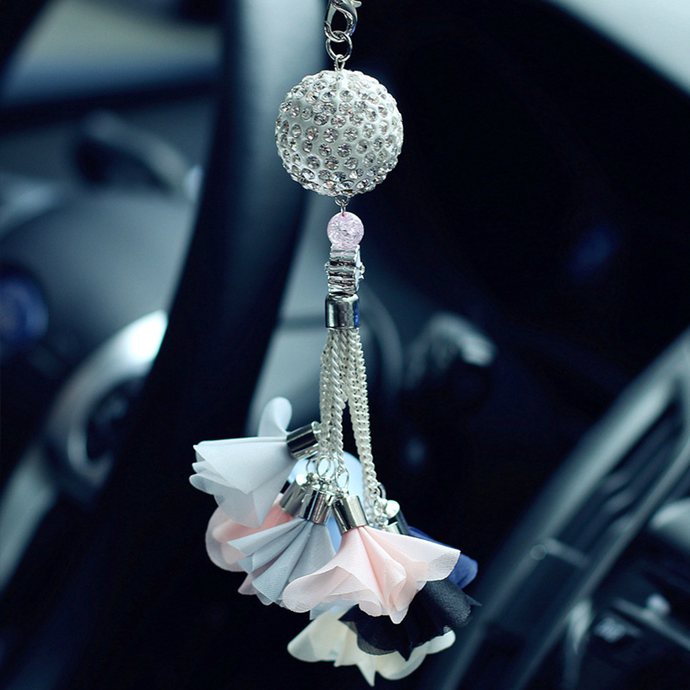 buy luxury diamond crystal ball rear view mirror car pendant charms ornaments. Black Bedroom Furniture Sets. Home Design Ideas