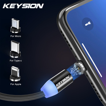 KEYSION 1M Magnetic Charge Cable , Micro USB For iPhone XR XS Max X Magnet Charger Type C LED Charging Wire Cord