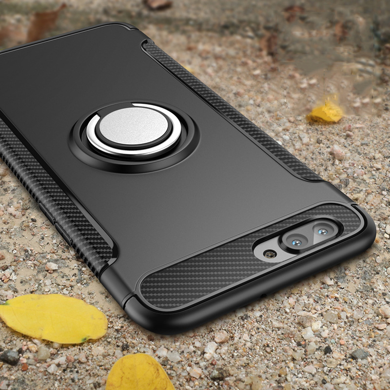 Caso à prova de choque para o iphone 12 11 7 6s 8 plus x xr xs max silicone & pc capa traseira com ímã titular do carro de metal telefone anel suporte