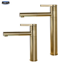 Brushed Gold Rotatable Basin Faucet 100% Brass Round Bathroom Faucet Hot & Cold Black Water Mixer Tap
