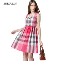 BURDULLY Designer Cotton Women European Dress High Quality Fashion Brand 2017 Luxury Ladies Casual Dresses Summer