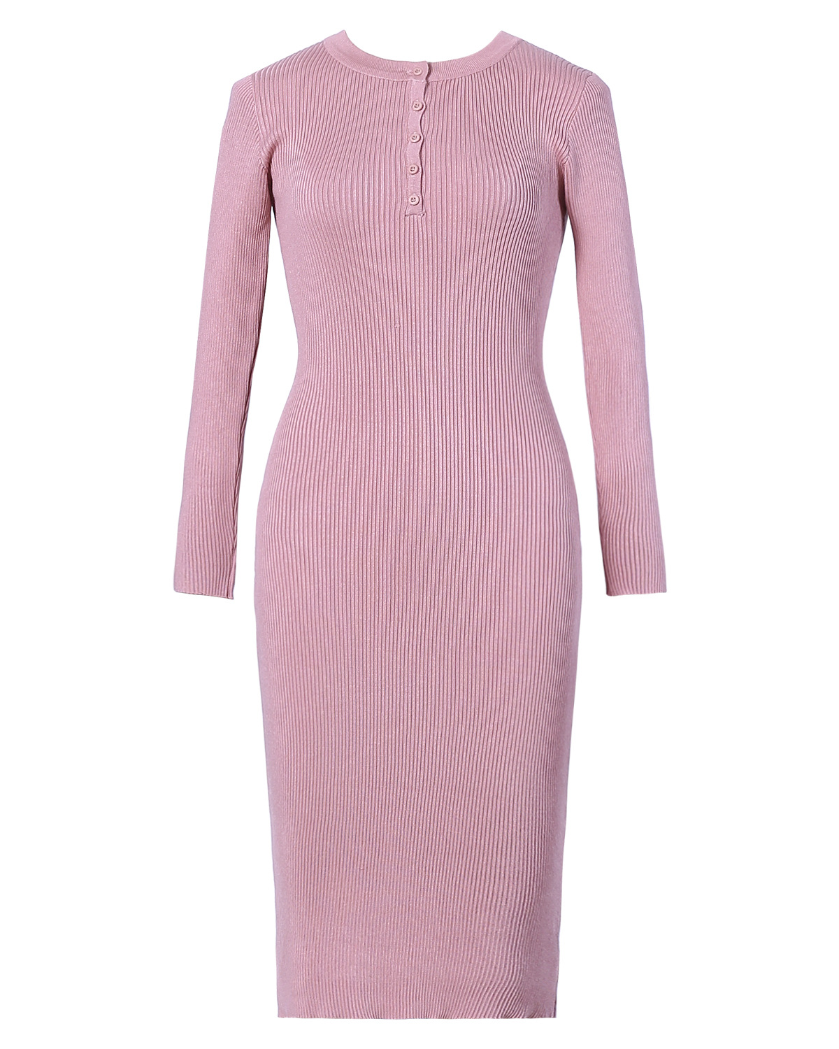 Sweater Dress For Woman Buttons Long Sleeve Knitted Wear Clothes 2018 Knee Length Spring 2018 WS5354U