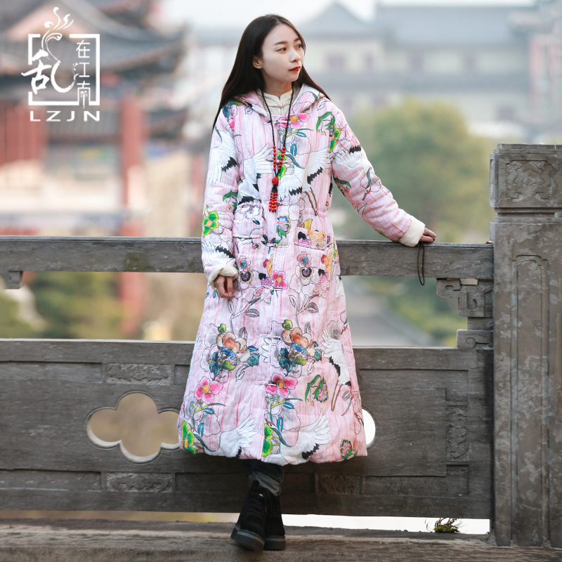LZJN Long Warm Winter Coat Women Pink Parka Ethnic Chinese Quilted Jacket Crane Print Hooded Outwear