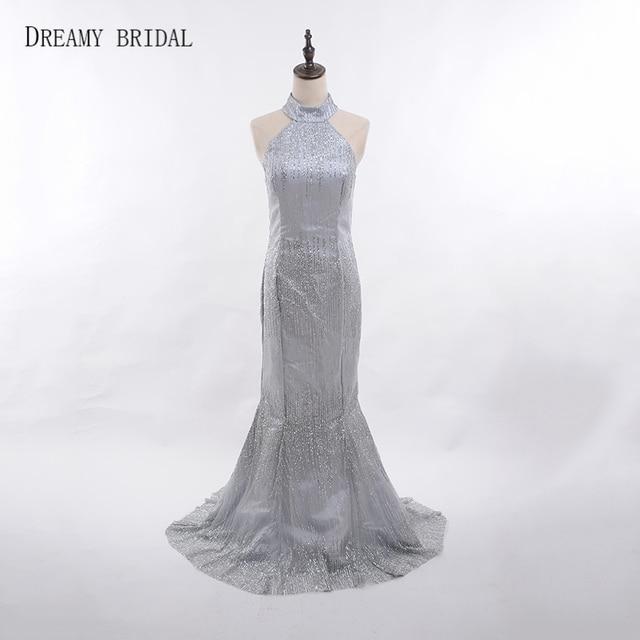 Dreamy Bridal Glued Glitter Evening Dresses Mermaid Halter Low Back Robe De  Soiree Formal Gowns Sweep Train Custom Made 2018 f22afaec6bb7