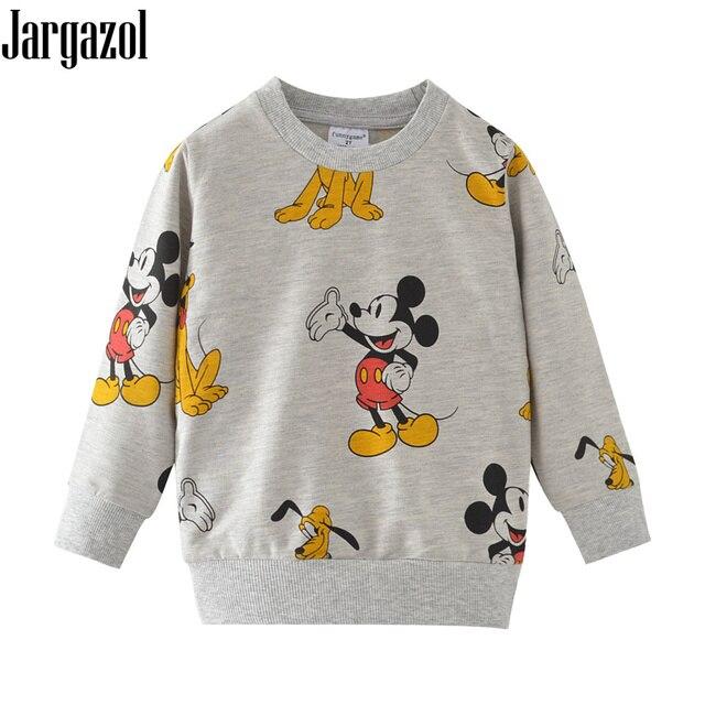 Boys Sweatshirt Cartoon Mickey Dog Printed Embroidery Autumn Winter Long Sleeve Looped Pile Tops Girls Shirt Cotton Kids Clothes