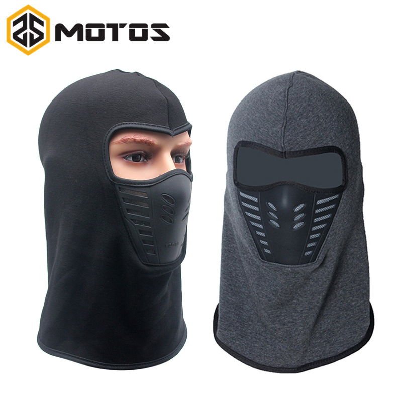 ZS MOTOS Winter Warm Full Face Cover Thermal Fleece Lined Windproof Anti Dust Ski Mask Balaclava Hood Rubber Breathable Vent winter warm thermal fleece balaclava shooting headwear full face mask sport snood hood scarf beanie hats caps