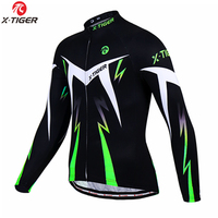 X-Tigre Inverno Camisa de Ciclismo Bicicleta de Manga Longa Roupas de Lã Térmica MTB Bicicleta Vestuário Roupa De Ciclismo Invierno Hombre