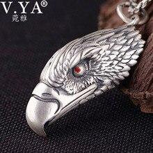 V. YA, Стерлинговое Серебро 990 пробы, подвеска в виде головы орла, яркая птица, серебряная подвеска, ожерелье, винтажное, в стиле панк, ювелирное изделие, без цепи