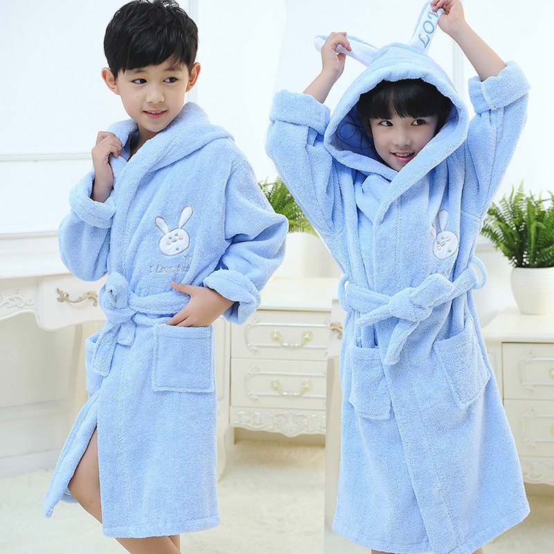 Child bathrobe kids cotton girl boy hooded nightgown winter towel fleece cartoon cap bathing spa bathrobe