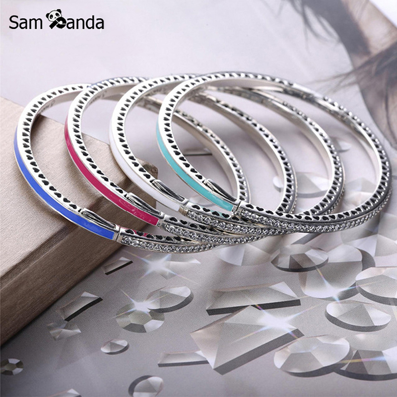 New Authentic 925 Sterling Silver Charm Bead Enamel Radiant Hearts Crystal Bangles Bracelets Fit DIY Pan Beads Jewelry 7 Colors top quality bright mint enamel clear cz radiant hearts of pan bangle fit europe bracelet 925 sterling silver bead charm jewelry