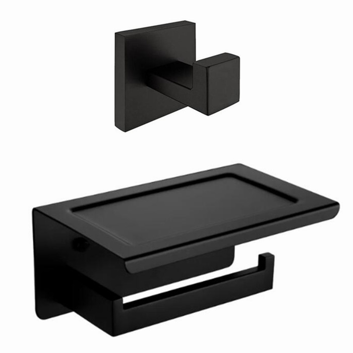 Bathroom Set 304 Satinless Steel Bathroom Hardware Set black Toilet Paper Holder Robe Hook SM023B