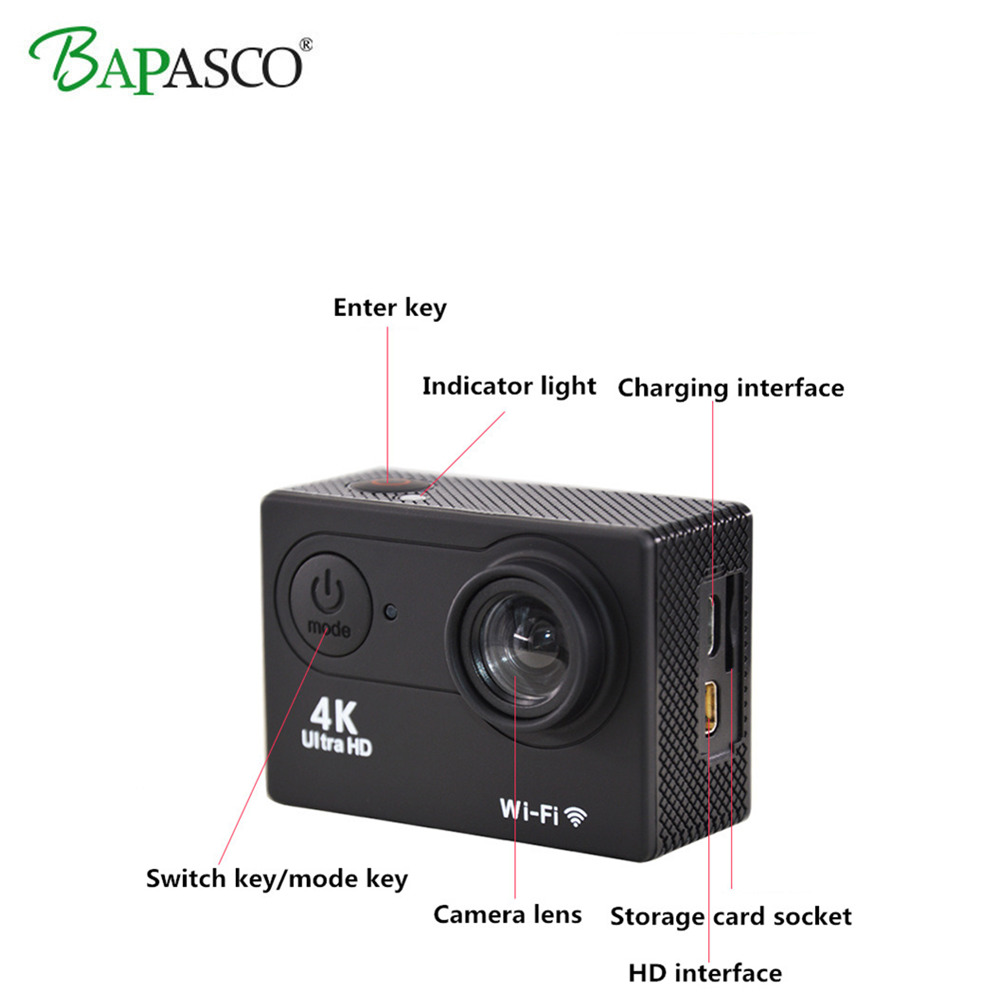 Caméra d'action WIFI Ultra HD Mini Cam 4 K/25FPS 1080 p/60fps 720 P/120FPS étanche 2.4G caméra de Sport vidéo télécommandée sans fil