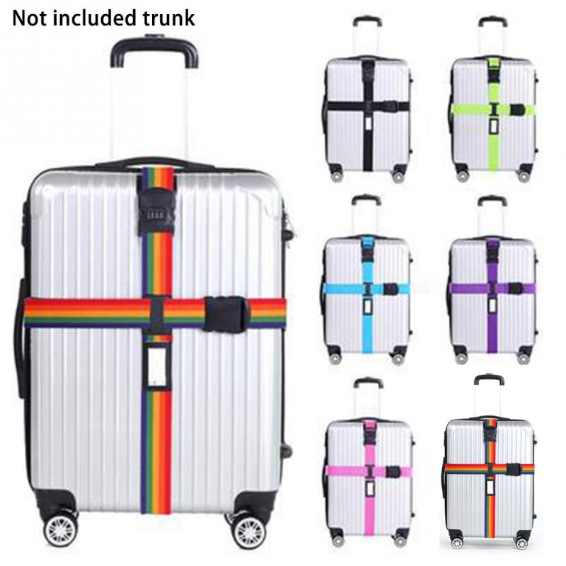 Luggage Strap Cross Belt Packing Adjustable Travel Suitcase Nylon 3 Digits Password Lock Buckle Strap Baggage Belts High Quality travelsky new tsa travel luggage strap adjustable lengthened suitcase cross belt tsa password lock buckle strap baggage belts