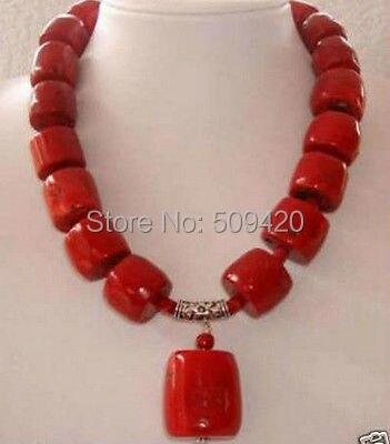 """W и O655 >> удивительный красный коралл цилиндра бусины ожерелье 1"""""""