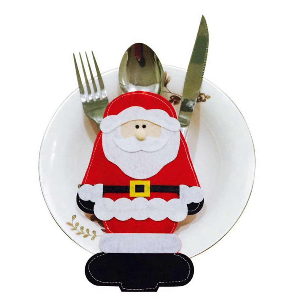 1 Pc Santa Claus Costume Knives And Forks Cover Pockets Bag Dinner Tableware Holder Christmas Party Gift Decoration Supplies