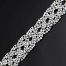 10Yards 2cm Rhinestone Trim Chain Silver Tone Glue Sew On Costume Decor Jewelry Accessories