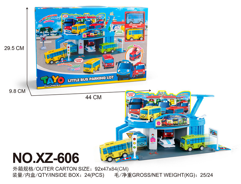 Tayo the little bus set XZ-606 Assembled Bus Maintenance factory with 2 mini tayo bus repair shop oyuncak araba car kids here comes super bus 2