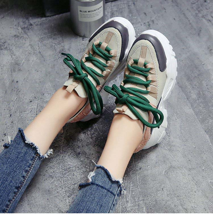 Spring Sport Shoes Platform Sneakers PU Leather Casual Trainers