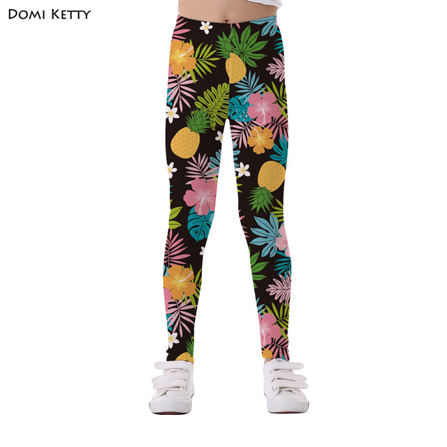 e3efdac626f6d Domi Ketty floral girls leggings print leaves pineapple flowers children  casual fitness high waist leggings kids cartoon pants
