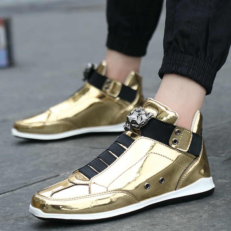 4bce9a5e18 2019 Cool Men High Top Men Gold Glitter Sneakers Bling Zip Platform Flats  Shoes Man Glossy Silver krasovki Leopard head Shoes