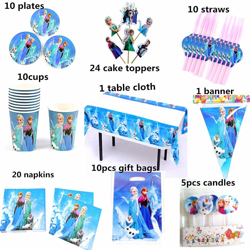 100pcs For 10 People Disney Frozen Princess Anna Elsa Tableware Set Children Happy Birthday Kids Party Supplies Decorations