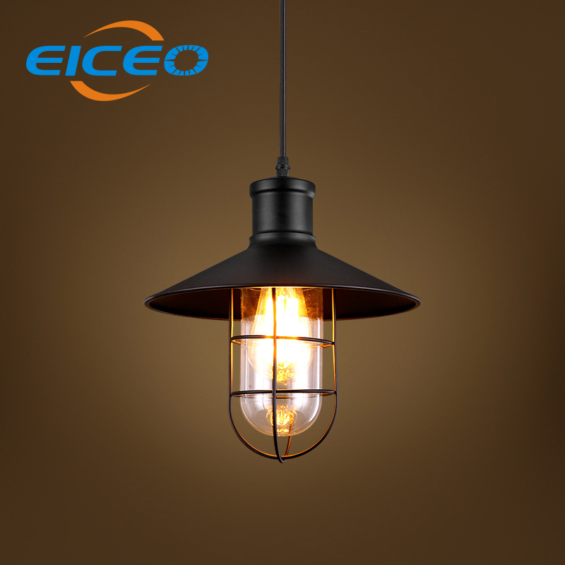 (EICEO) Industrial Retro Style Restaurant Aisle Iron Cage Chandelier Glass Creative Warehouse LED Pendant Lamp Hanging lights