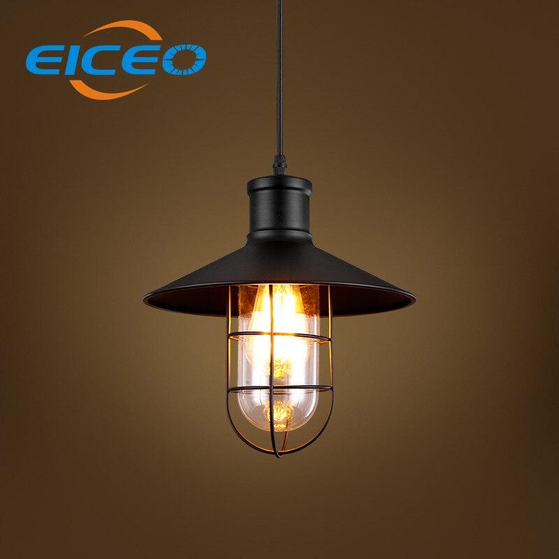 ФОТО EICEO Industrial Retro Style Restaurant Aisle Iron Cage Chandelier Glass Creative Warehouse LED Pendant Lamp Hanging lights