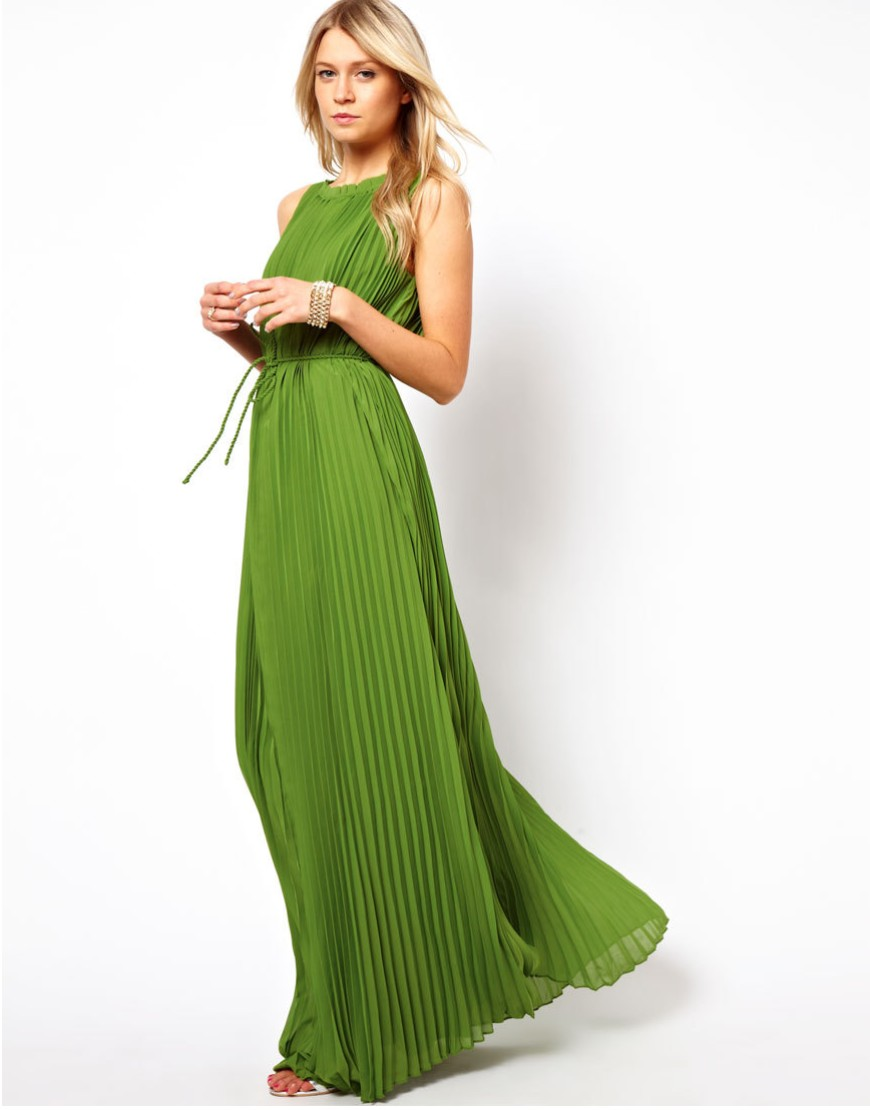 dress party leisure elegant Pleated Maxi Dress Dark Green Floor ...