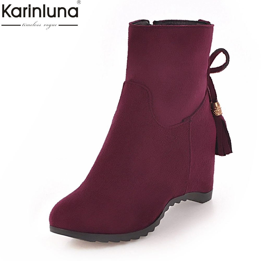 Karinluna Large Size 33-44 Sweet Bowtie Zip Up Ankle Boots Shoes Woman Increasing Heels Add Fur Winter Boots Woman Shoes цена