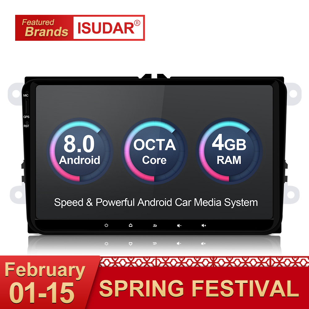 Isudar Voiture lecteur multimédia Android 8.0 GPS 1 Din Stéréo Pour Volkswagen/VW/POLO/PASSAT/Golf/ skoda/Octavia/Siège/Leon Radio HD