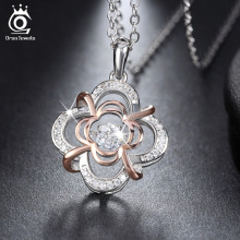 Genuine 925 Silver Cute Flower Pendant Necklaces Rhodium mixed Rose Gold Plated  with Movable 0.3 ct Crystal for Women SN14