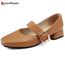 MoonMeek new arrive hot prevail elegant women shoes square toe slip on square heel shallow simple gentle med heel female pumps(China)