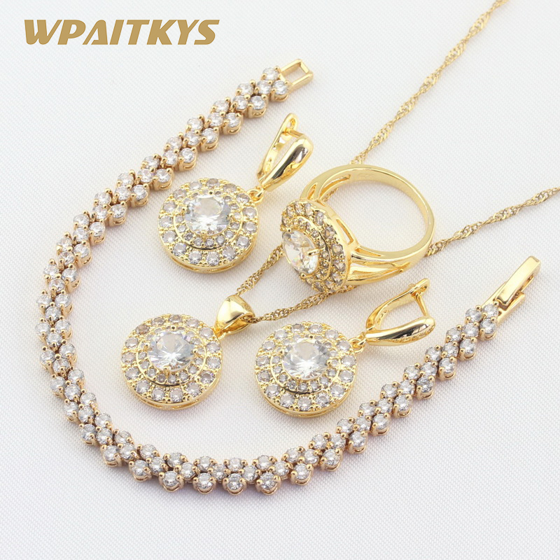 Round White Cubic Zirconia Gold Color Jewelry Sets For Women Bracelet Earrings Necklace Pendant Rings Free Gift Box WPAITKYS 6pcs of stylish color glazed round rings for women