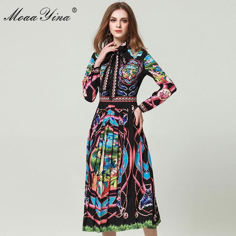 MoaaYina Fashion Designer Runway Dress Lente vrouwen Jurk Lange mouw Prairie Chic Print Slanke Elegante Jurken Vestidos-in Jurken van Dames Kleding op  Groep 1
