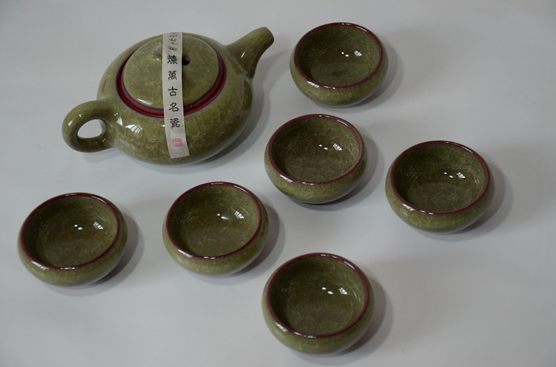Chinese Puer Tea Set Kungfu Tea Sets 7pcs Ice Crack 6 Tea cups 1 Tea pot