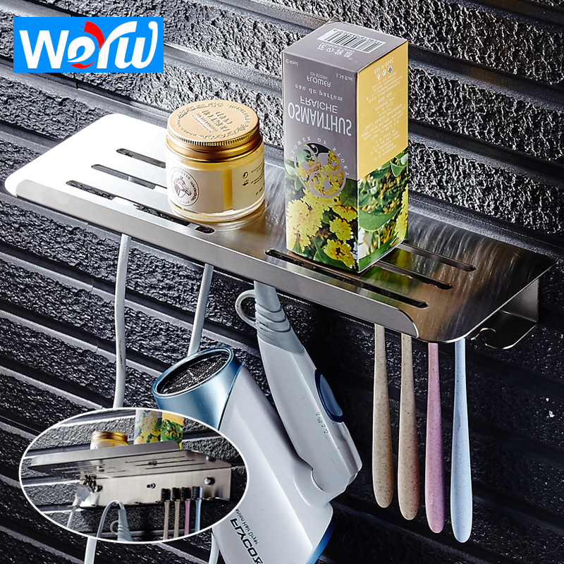 WEYUU Bathroom Stainless Steel Toothbrush Cup Holder Wall Mounted Toilet Gargle Cup Holder Storage Rack Bathroom Accessories stainless steel metal cup display rack cup potting plant holder showing desktop stand cup holder rack furniture accessories