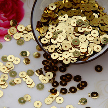 6mm 4000pcs/lot (50g) round flat loose sequins Light Gold color Paillettes sewing Wedding craft DIY Gament accessories