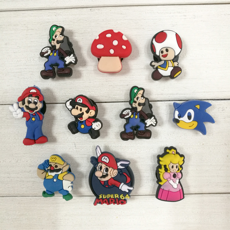 100pcs Super Mario Cartoon PVC Shoe Buckles Shoe Charms Fit Croc For Shoes&wristbands With Holes Furniture Accessories As Gifts