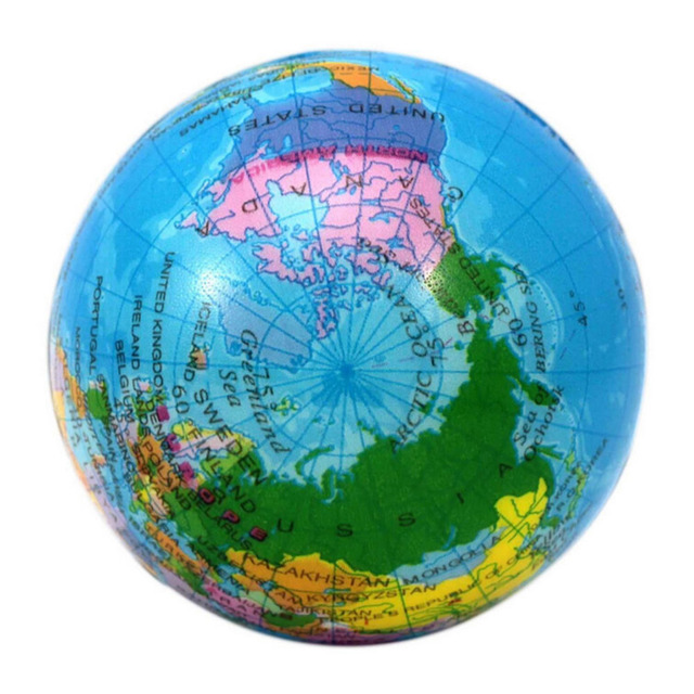 Round Ball Massage World Map Foam Earth Globe Hand Wrist Exercise - Round world map image