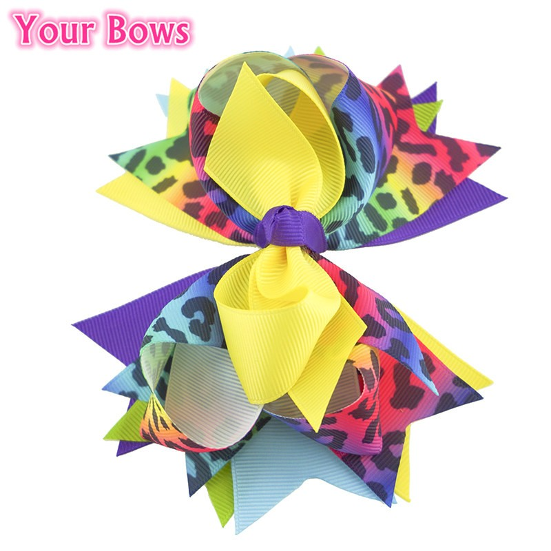Your Bows 1PC 5.5 Inch Rainbow Leopard Girls Hair Bows Polyester Bows - Accesorios para la ropa - foto 5