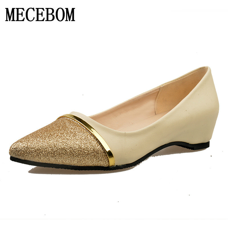 2017 Spring Autumn Fashion Women Flat Shoes Pointed Toe Slip-On Flat Shoes Comfortable Single Casual Flats Size 35-40 103W 2017 fashion women shoes woman flats high quality casual comfortable pointed toe rubber women flat shoes plus size 35 42 s097
