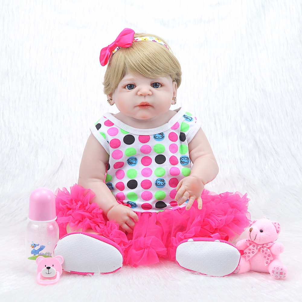 Real Full Body silicone reborn baby dolls Toys 22 newborn girl wig blond hair magnetic pacifier children gift bonecas цена