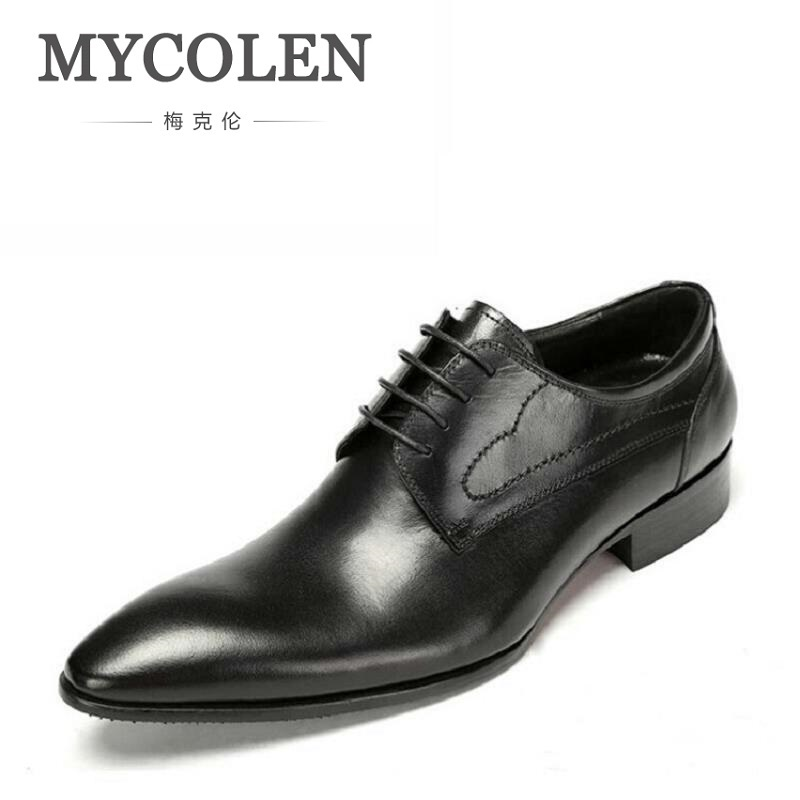 MYCOLEN Italian Style Autumn Genuine Leather Lace Up Men Formal Shoes Wedding Party Pointed Toe Business Dress Shiny Footwear new arrival men casual business wedding formal dress genuine leather shoes pointed toe lace up derby shoe gentleman zapatos male
